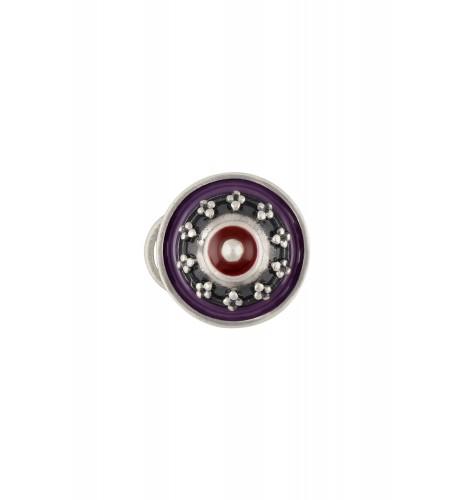Purple Enamelled Round Rawa Nose Pin