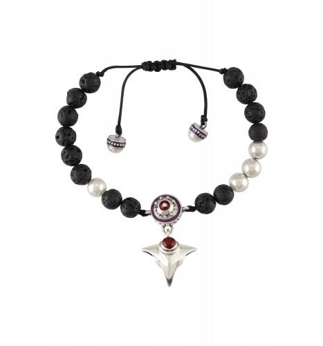Purple Enamelled Rudraksh Inspired Serpent Charm Bracelet