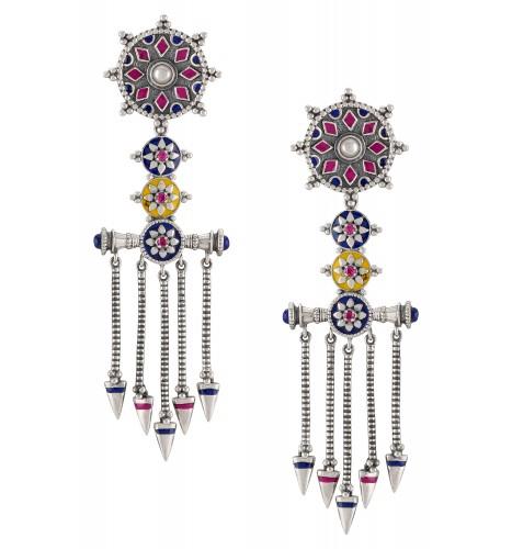 Flower Geometric Tassel Earrings