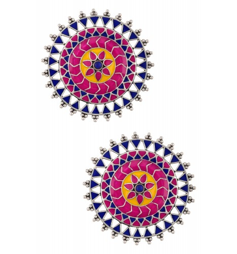 Rangoli Rawa Enameled Ring Ear Studs