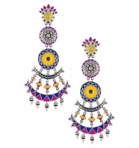Color Pop Floral Moon Multilayer Dangle Earrings