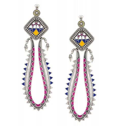 Color Pop Geometric Leafy Dangle Earrings