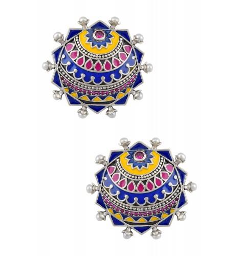 Color Pop Decagon Enamel Pearl Ear Studs