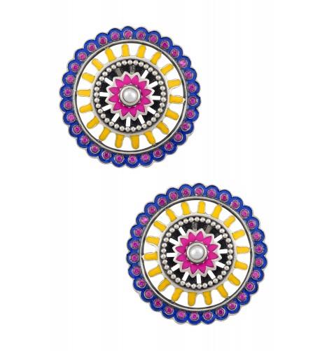 Color Pop Enamel Floral Radial Ear Studs