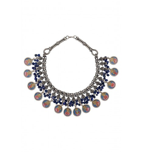 Silver Lapis Bead Painting Necklace