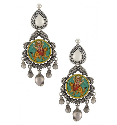 Silver Flower Mango Goddess Durga Painting Earrings