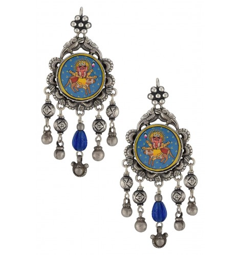 Silver Bead Glass Vinayaka Painting Earrings