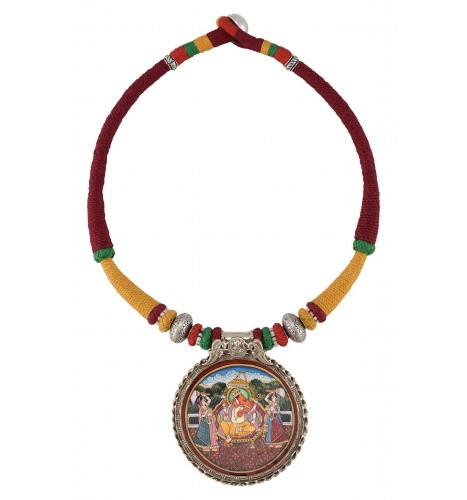 Silver Ganesha Ridhi Sidhi Painting Thread Necklace