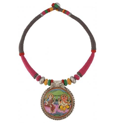 Silver Laxmi Ganesha Painting Thread Necklace