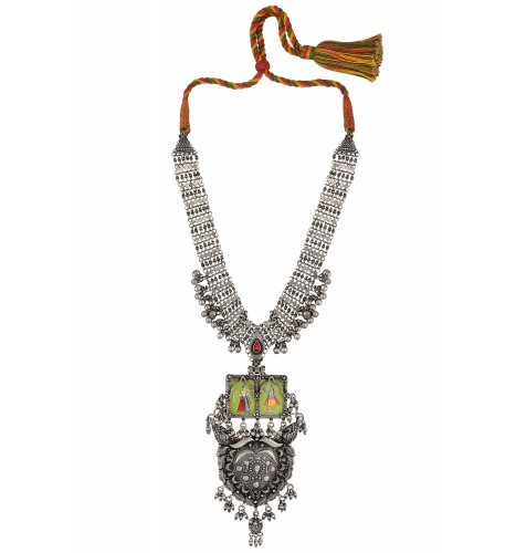 Radha Krishna Painting Floral Silver Necklace
