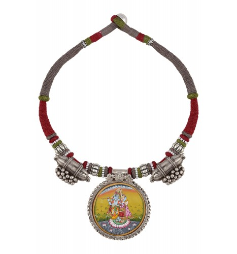Radha Krishna Painting Taveez Motif Thread Silver Necklace