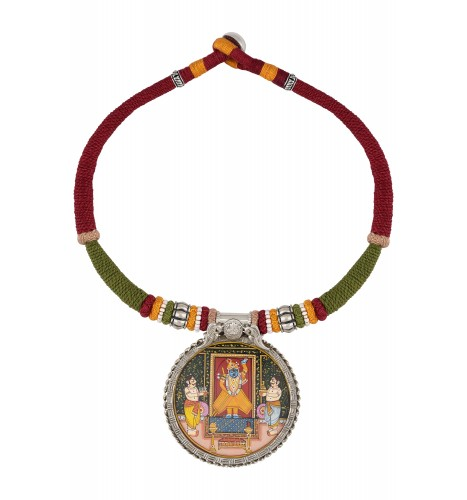 Shri Nath Ji Painting Thread Silver Necklace