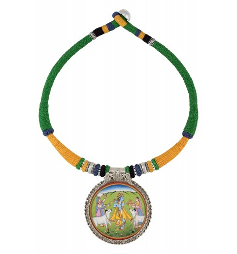 Silver Krishna Painting Peacock Motif Thread Necklace