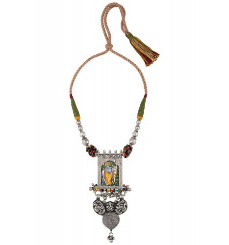Lord Krishna Painting Peacock Motif Thread Silver Necklace