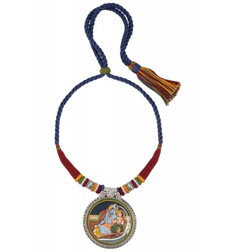 Shiv Parvati Painting Thread Silver Necklace