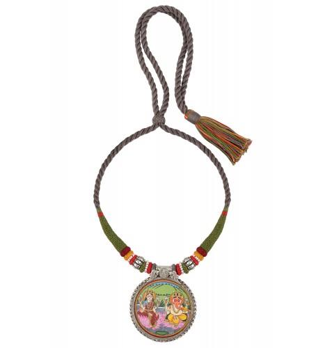 Laxmi Ganesha Painting Thread Silver Necklace