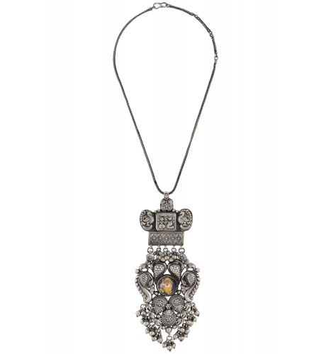 Lord Ganesha Painting Peacock Motif Silver Necklace