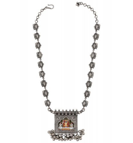 Ganpati Painting Peacock Ball Drop Silver Chain Necklace