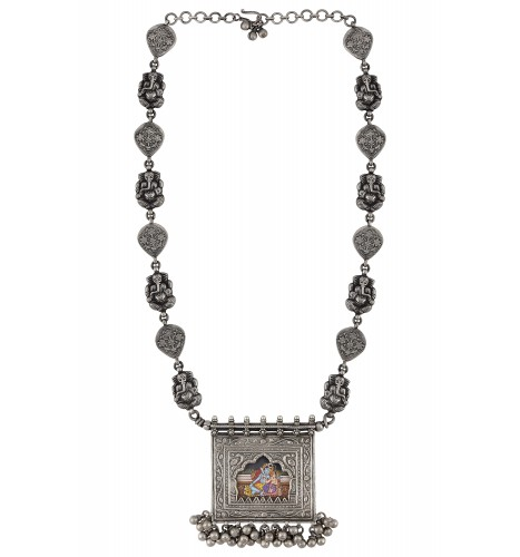 Shiv Parvati Floral Ghungroo Charms Ganesha Statement Necklace