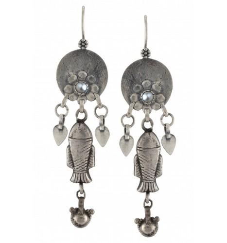 Silver Oxidised Flower Fish Bead Drop Earrings