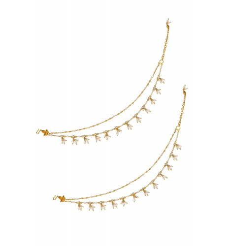 Silver Gold Plated Pearl Tassel Citrine Leafy Anklet