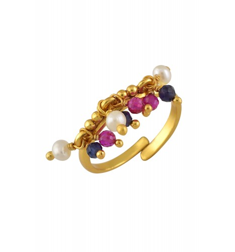Silver Gold Plated Glass Pearl Cluster Ring