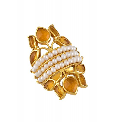 Silver Gold Plated Pearl Lotus Citrine Ring