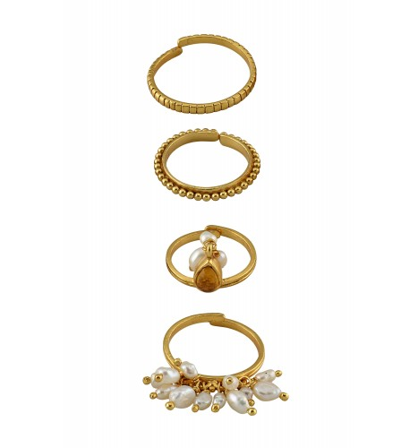 Silver Gold Plated Pearl Citrine Stacking Rings