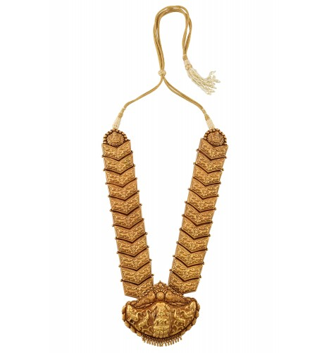 Silver Gold Plated Textured Laxmi Peacock Motif Interlinked Necklace