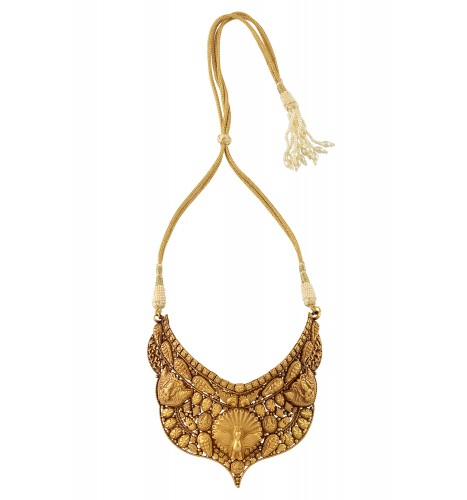 Silver Gold Plated Textured Godess Peacock Leafy Choker