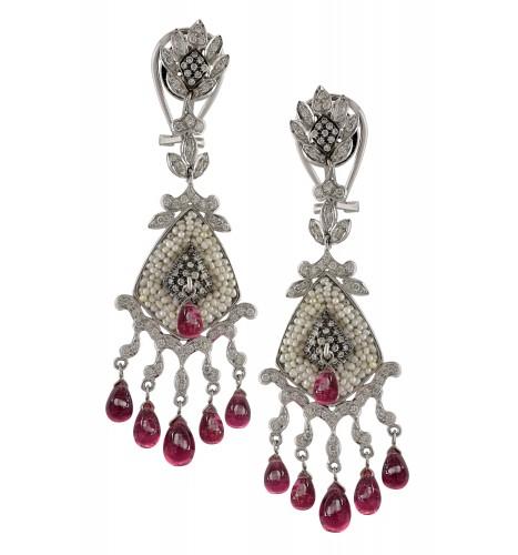 18kt Gold Leafy Pearl Studded Diamond Tourmaline Drop Earrings