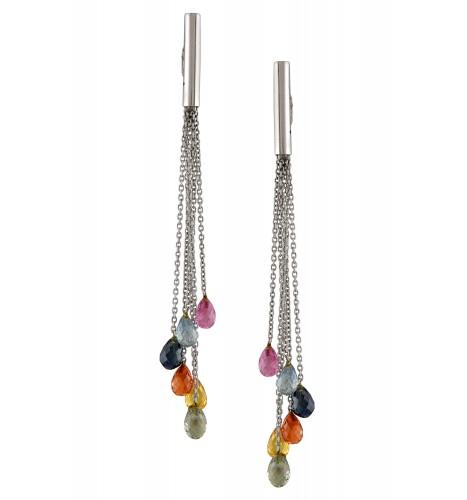 18kt Gold Multi Sapphire Drop Tassel Earrings