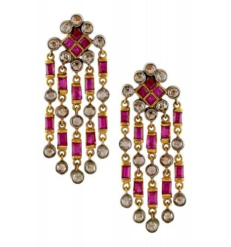 14kt Gold Diamond Ruby Rhomb Tassel Earrings