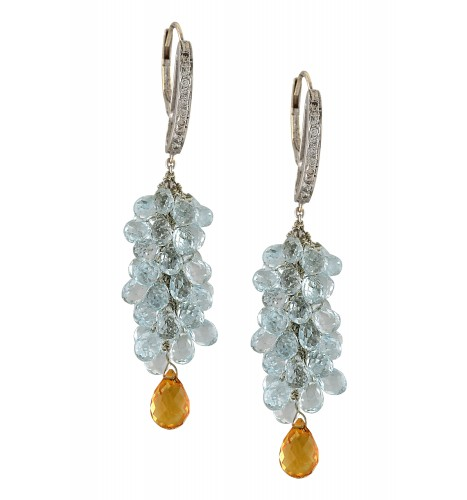 18kt Gold Aqua Cluster Citrine Drop Earrings