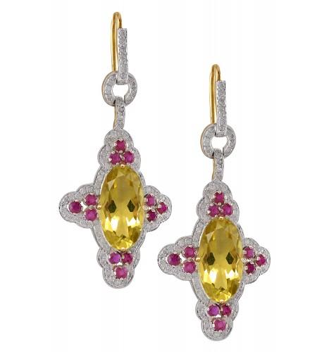 18kt Gold Diamond Ruby Studded Lemon Quartz Star Earrings