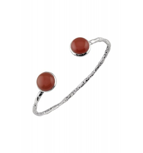 Silver Textured Red Onyx Bangle