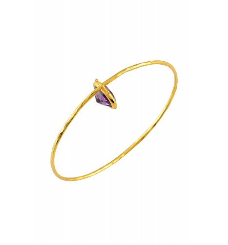 Silver Gold Plated Amethyst Drop Bangle