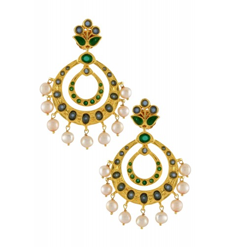 Silver Gold Plated Floral Green Blue Glass Pearl Droplet Earrings