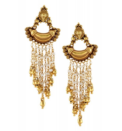 Silver Gold Plated Rawa Crescent Multi Pearl Strand Earrings