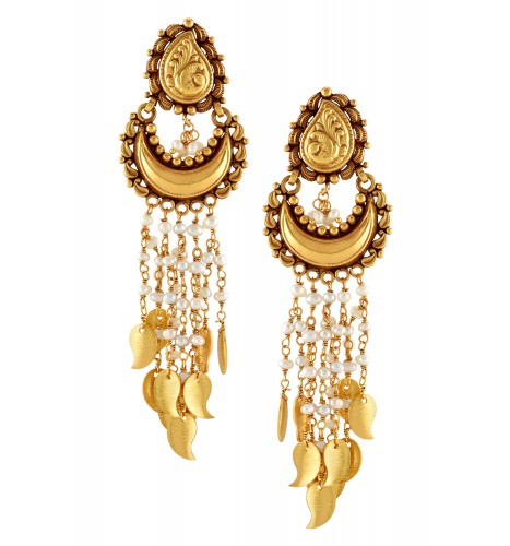 Silver Gold Plated Traditional Peacock Crescent Pearl Paisley Earrings