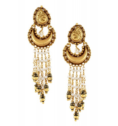 Silver Gold Plated Paisley Crescent Multi Pearl Strand Earrings