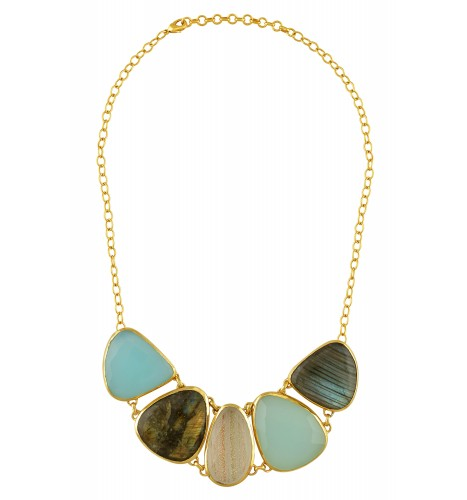 Gold Plated Labradorite Glass Necklace