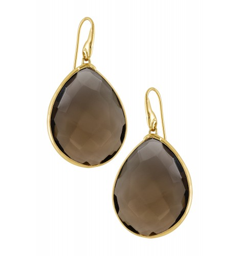 Gold Plated Faceted Smoky Earrings