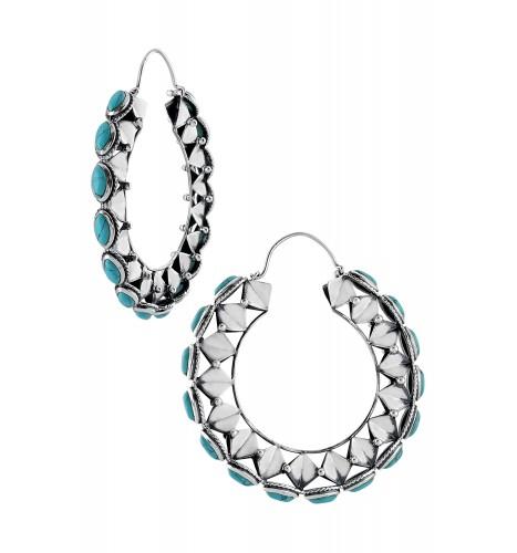 Silver Rhomb Turquoise Marquise Hoop Earrings
