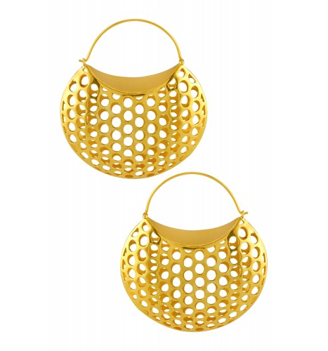 Silver Gold Plated Jaali Dome Earrings