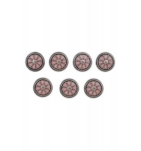 Pink Enamel Coin Kurta Button Set