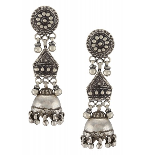 Silver Oxidised Tribal Motif Ball Drop Jhumki Earrings