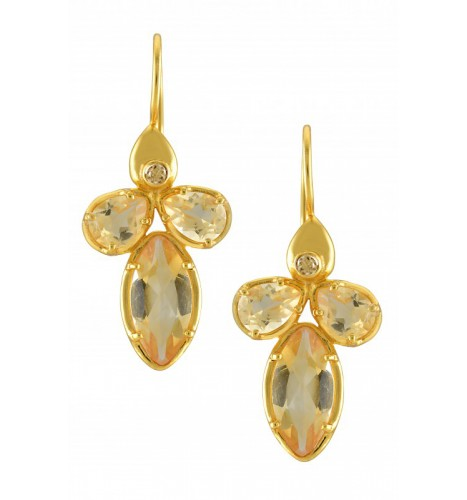 Silver Gold Plated Citrine Earrings