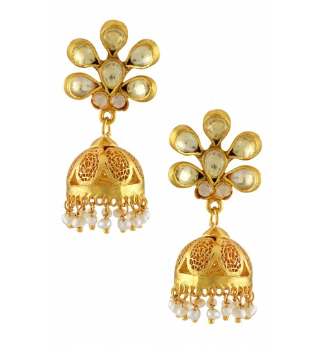 Silver Gold Plated Crystal Pearl Drop Flower Jaali Jhumki