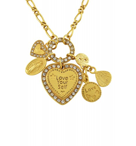 Gold Plated 'Love Your Self Charm' Pendant